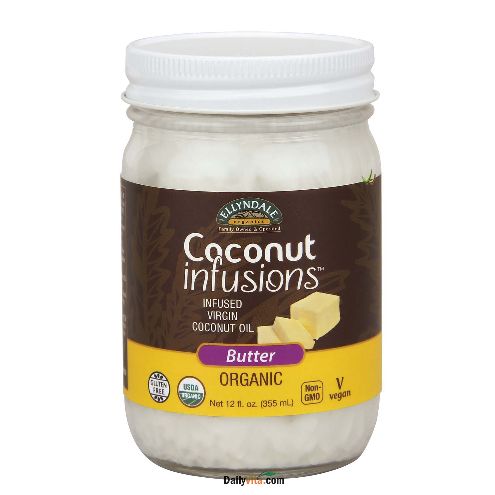 NOW® Organic Coconut Infusions™ - Non-Dairy Butter Flavor – 12 oz.