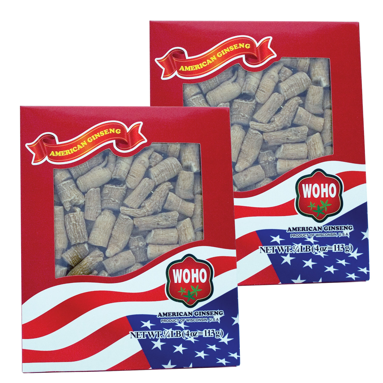 Special Bundle: 2 Boxes of WOHO #121.4 American Ginseng Roots Prong Large 4oz Box